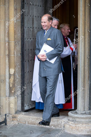 Prince Edward leaves Wells Cathedral after Evening Song.