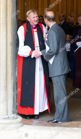 Prince Edward says goodbye to the Bishop of Wells after Evening Song.