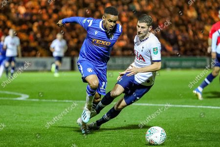 Colchester United forward Paris Cowan-Hall (11) blocks Tottenham Hotspur defender Ben Davies (33) during the EFL Cup match between Colchester United and Tottenham Hotspur at the JobServe Community Stadium, Colchester