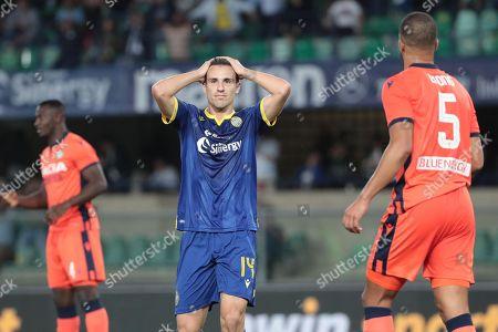 Hellas Verona's Valerio Verre disappointment at the end of Italian Serie A soccer match Hellas Verona FC vs Udinese Calcio at the Marcantonio Bentegodi stadium in Verona, Italy, 24 September 2019.