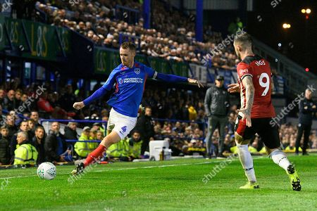 Tom Naylor (4) of Portsmouth on the attack during the EFL Cup match between Portsmouth and Southampton at Fratton Park, Portsmouth