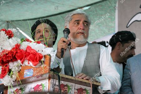 Dr. Abdullah Abdullah (C), Afghan Presidential candidate, attends his election campaign, in Kandahar, Afghanistan, 24 September 2019. Presidential elections in Afghanistan are scheduled for 28 September, with a total of 18 candidates, including incumbent President Mohammad Ashraf Ghani, are running for the post.