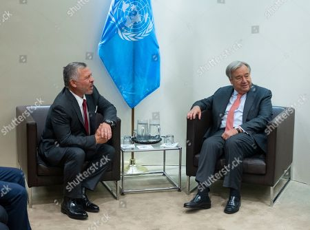 Jordan's King Abdullah II, left, meets with UN Secretary General Antonio Guterres during the 74th session of the United Nations General Assembly, at U.N. headquarters