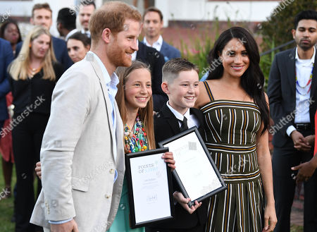 Prince Harry and Megan Duchess of Sussex attends a reception for young people, community and civil society leaders at the Residence of the British High Commissioner in Cape Town, South Africa.