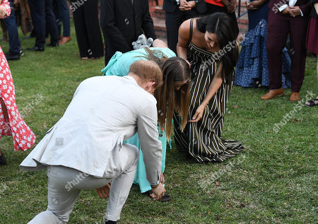 Stock Photo of Prince Harry and Megan Duchess of Sussex attends a reception for young people, community and civil society leaders at the Residence of the British High Commissioner in Cape Town, South Africa.