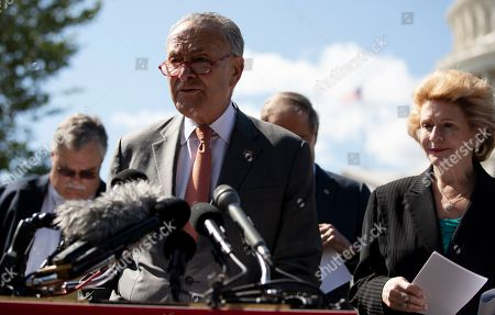 United States Senate Minority Leader Chuck Schumer (Democrat of New York) speaks at press conference on impacts of the border wall and funding cuts on Capitol Hill. Pictured o the right is US Senator Debbie Stabenow (Democrat of Michigan)