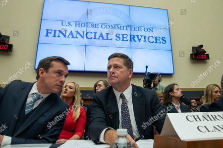 Stock Photo of Commissioner Robert J. Jackson Jr. and Chairman, Securities and Exchange Commission (SEC) Jay Clayton prepares to speak at the Oversight of the Securities and Exchange Commission