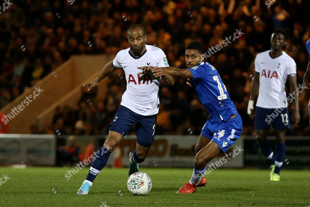 Lucas of Tottenham Hotspur and Brandon Comley of Colchester United during Colchester United vs Tottenham Hotspur, Caraboa Cup Football at the JobServe Community Stadium on 24th September 2019