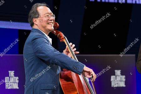 Yo-Yo Ma performs before House Speaker Nancy Pelosi of Calif., participates in question and answer session with Jeffrey Goldberg, the editor in chief of The Atlantic, as part of the Atlantic Festival, in Washington