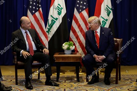 President Donald Trump meets with Iraqi President Barham Salih at the Lotte New York Palace hotel during the United Nations General Assembly, in New York
