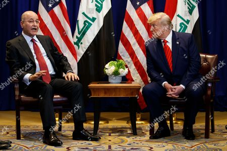 Donald Trump, Barham Salih. President Donald Trump meets with Iraqi President Barham Salih at the Lotte New York Palace hotel during the United Nations General Assembly, in New York