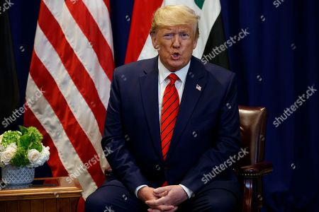 Donald Trump, Barham Salih. President Donald Trump speaks during a meeting with Iraqi President Barham Salih at the Lotte New York Palace hotel during the United Nations General Assembly, in New York