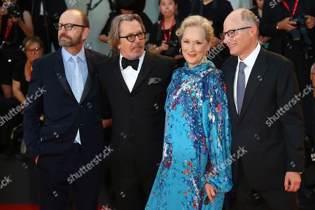Steven Soderbergh, Gary Oldman, Meryl Streep, Jake Bernstein. Director Steven Soderbergh, from left, actors Gary Oldman, Meryl Streep and author Jake Bernstein at the premiere of the film 'The Laundromat' at the 76th edition of the Venice Film Festival, Venice, Italy. The film will be released in U.S. theaters on Sept. 27