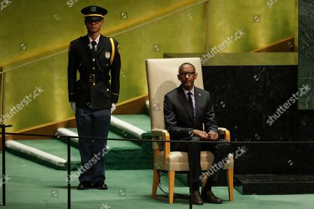 Rwanda's President Paul Kagame waits to address the 74th session of the United Nations General Assembly, at the United Nations headquarters