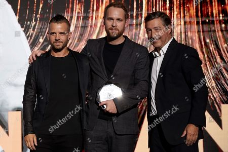 Swedish chef Bjorn Frantzen (C), awarded as best chef in the world, poses for the media with Spanish chef Joan Roca (R-2nd), and David Munoz (L-3rd) during 'The Best Chef Awards' gala held in Barcelona, Catalonia, Spain, 24 September 2019.