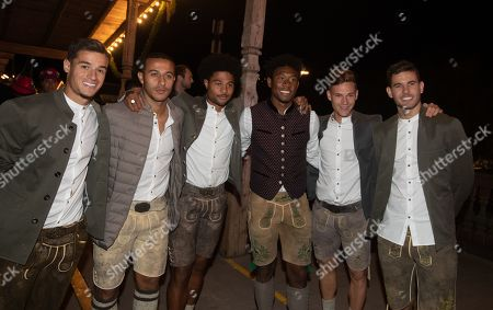 FC Bayern Players - Philippe Coutinho, Thiago Alcantara, Serge Gnabry, David Alaba, Joshua Kimmich and Lucas Hernandez