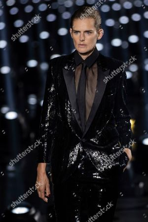 Stock Photo of Stella Tennant wears a creation as part of the Saint Laurent Ready To Wear Spring-Summer 2020 collection, unveiled during the fashion week, in Paris