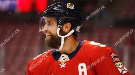 Florida Panthers defenseman Aaron Ekblad (5) in action during a preseason NHL hockey game, in Sunrise, Fla