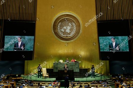 Prince Alois of Liechtenstein addresses the 74th session of the United Nations General Assembly, at the United Nations headquarters