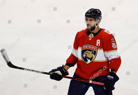Florida Panthers defenseman Aaron Ekblad (5) in action during the first period of a preseason NHL hockey game against Tampa Bay Lightning, in Sunrise, Fla