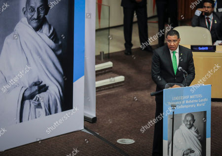 Jamaican Prime Minister Andrew Holness address a special event commemorating the 150th anniversary of Mahatma Gandhi, during the United Nations General Assembly, at U.N. headquarters