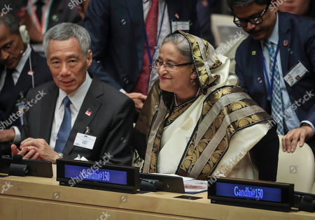 Lee Hsien Loong, Sheikh Hasina. Singapore Prime Minister Lee Hsien Loong, left, and Bangladesh Prime Minister Sheikh Hasina, participate in a special event commemorating the 150th anniversary of Mahatma Gandhi, during the United Nations General Assembly, at U.N. headquarters