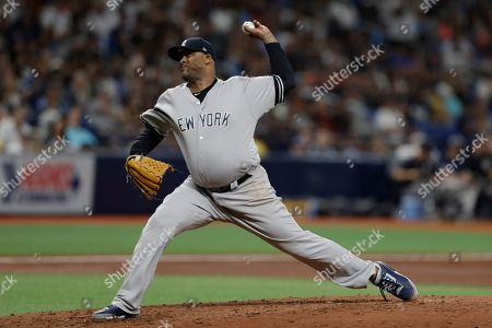 New York Yankees pitcher CC Sabathia during the fourth inning of a baseball game against the Tampa Bay Rays, in St. Petersburg, Fla