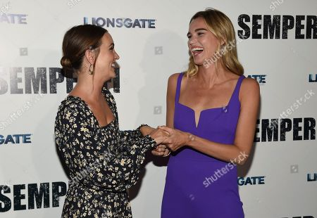 """Leighton Meester, Sarah Michler. Leighton Meester, left, and producer Sarah Michler arrive at a special screening of """"Semper Fi"""", and ArcLight Hollywood Cinemas in Los Angeles"""