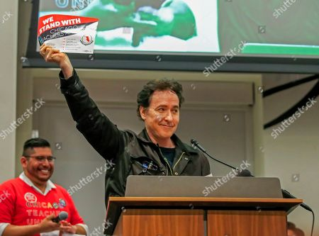 US actor John Cusack speaks at a rally in support of Chicago Public School teachers at the Chicago Teachers Union headquarters in Chicago, Illinois, USA, 24 September 2019. Union members are voting on whether CTU leaders can call for a strike which, if approved, could start as early as 07 October.