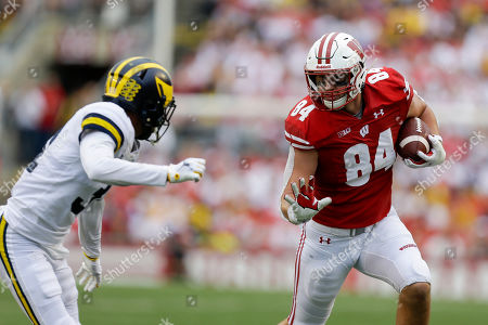 Wisconsin tight end Jake Ferguson during the second half of an NCAA college football game against Michigan, in Madison, Wis. Wisconsin won 35-14