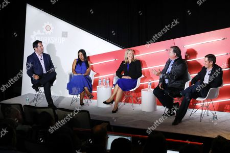 Stock Image of Peter Sedlarcik (Chief Data Officer, Havas Media), Radha Subramanyam (Chief Research and Analytics Officer, CBS Television Network, CBS Television Network), Jane Clarke (CEO and Managing Director, CIMM), George Ivie (Executive Director, Media Ratings Council) and Brad Smallwood (VP, Marketing Science, Facebook)