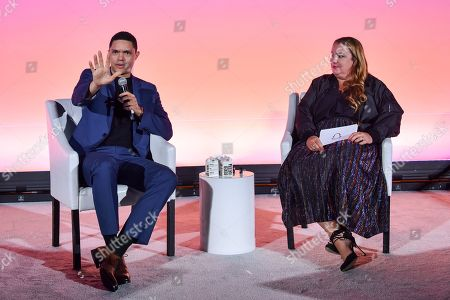 Stock Image of Trevor Noah and Jeremi Gorman (Chief Business Officer, Snap Inc.)