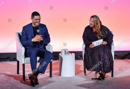 Trevor Noah and Jeremi Gorman (Chief Business Officer, Snap Inc.)