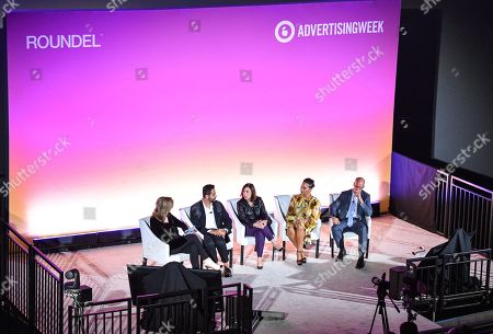 Stock Image of Arianna Huffington (Founder and CEO of Thrive Global, Thrive Global), Hesham Tohamy (VP of North America Feminine Care and Global Pads and Tampons Brand Franchise Leader, Procter & Gamble), Donna Murphy (Global CEO, Havas), Cristina Jones (SVP of Customer Marketing, Brand Partnerships, and C-Suite Engagement, Salesforce) and David Hoke (Associate Health and Well-Being, Walmart)