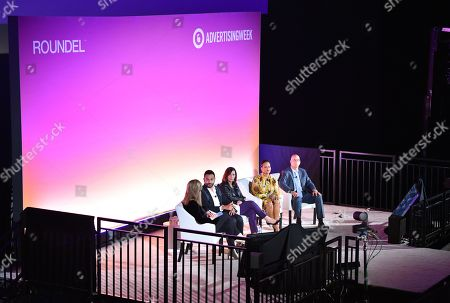 Stock Photo of Arianna Huffington (Founder and CEO of Thrive Global, Thrive Global), Hesham Tohamy (VP of North America Feminine Care and Global Pads and Tampons Brand Franchise Leader, Procter & Gamble), Donna Murphy (Global CEO, Havas), Cristina Jones (SVP of Customer Marketing, Brand Partnerships, and C-Suite Engagement, Salesforce) and David Hoke (Associate Health and Well-Being, Walmart)