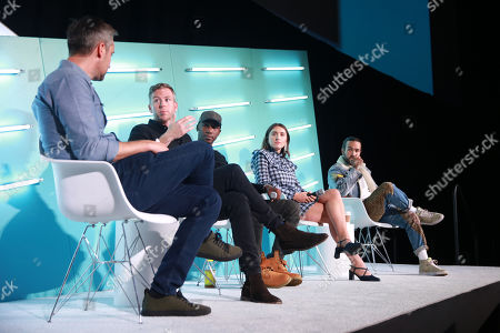 Stock Photo of Sean Mills (Head of Original Content, Snap), Peter Hamby (Host, Snapchat's Good Luck America), MK Asante (Author, Professor, Co-EP and Host, Snapchat's While Black), Hannah Lehmann (Creator, Writer, Director, Snapchat's Two Sides) and Pete Wentz (Musician, Fall Out Boy)