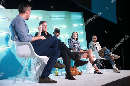 Sean Mills (Head of Original Content, Snap), Peter Hamby (Host, Snapchat's Good Luck America), MK Asante (Author, Professor, Co-EP and Host, Snapchat's While Black), Hannah Lehmann (Creator, Writer, Director, Snapchat's Two Sides) and Pete Wentz (Musician, Fall Out Boy)