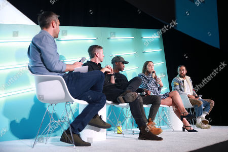 Stock Picture of Sean Mills (Head of Original Content, Snap), Peter Hamby (Host, Snapchat's Good Luck America), MK Asante (Author, Professor, Co-EP and Host, Snapchat's While Black), Hannah Lehmann (Creator, Writer, Director, Snapchat's Two Sides) and Pete Wentz (Musician, Fall Out Boy)