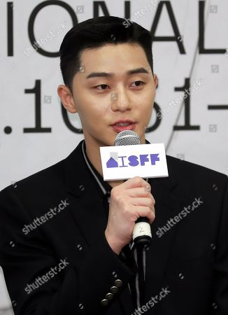 Stock Picture of Park Seo-joon speaks during a press conference for the Asiana International Short Film Festival in Seoul, South Korea, 25 September 2019. Park has been named a special judge for the festival that is slated to run in Seoul from 31 October to 05 November 2019.