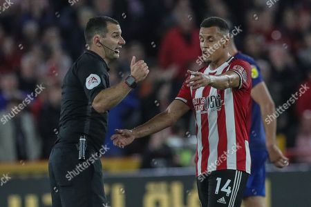25th September 2019 , Bramall Lane, Sheffield, England; EFL Carabao Cup Football, Third round, Sheffield United vs Sunderland ; Ravel Morrison (14) of Sheffield United appeals to referee Timothy Robinson to what he thought was a foul  Credit: Mark Cosgrove News Images English Football League images are subject to DataCo Licence
