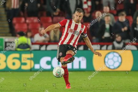 25th September 2019 , Bramall Lane, Sheffield, England; EFL Carabao Cup Football, Third round, Sheffield United vs Sunderland ; Phil Jagielka (15) of Sheffield United passes the ball Credit: Mark Cosgrove News Images English Football League images are subject to DataCo Licence
