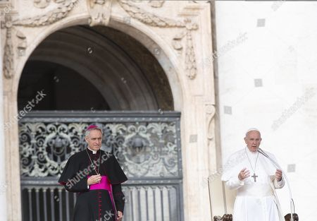 Pope Francis (R), next to archbishop Georg Gaenswein (L), prefect of the Papal Household, leads his Wednesday General Audience in Saint Peter's Square, Vatican City, 25 September 2019.
