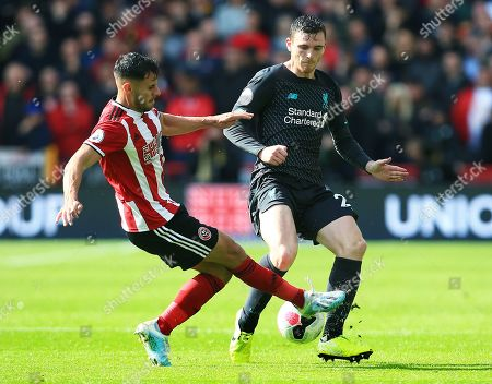 Andrew Robertson of Liverpool and George Baldock of Sheffield United