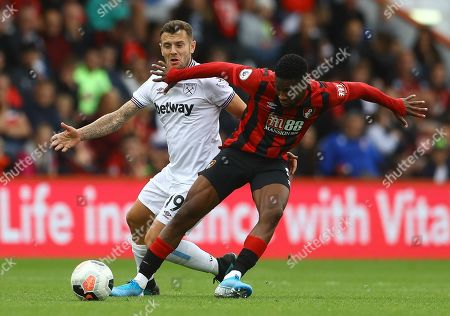 Jack Wilshere of West Ham United and Jefferson Lerma of Bournemouth in action