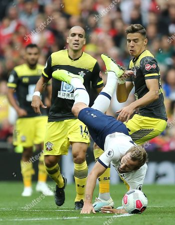 Harry Kane of Tottenham Hotspur is fouled by Jan Bednarek of Southampton