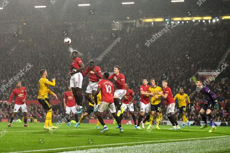 Stock Picture of Paul Pogba of Manchester United heads the ball.