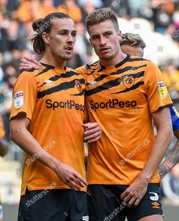 Jackson Irvine of Hull City and Reece Burke conspire to create mayhem at a corner