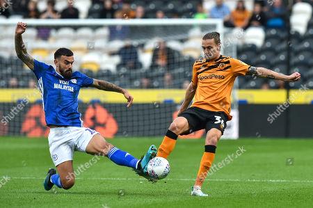 Marlon Pack of Cardiff City tackles Jackson Irvine of Hull City