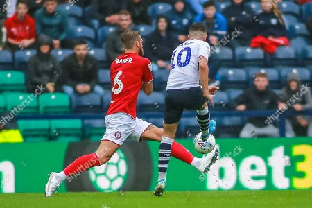Stock Picture of 28th September 2019, Deepdale, Preston, England; Sky Bet Championship, Preston North End v Bristol City : Josh Harrop (10) of Preston North End sees his shot blocked by Nathan Baker (6) of Bristol City