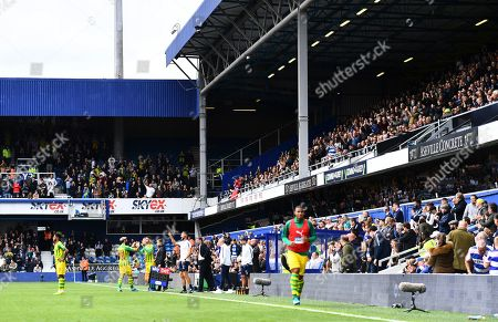 Ex Qpr player Charlie Austin of West Bromwich Albion is applauded by both sets of fans after he is substituted after an hour
